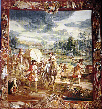 Battle of Wijnendale - Tapestry representing the battle of Wijnendale (1708) in Blenheim Palace, residence of the Duke of Marlborough, showing in the foreground the allied convoy, on the right Wijnendale Castle.