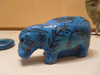 Egyptian blue -  Blue faience hippo, Middle Kingdom (2033-1710 BC)