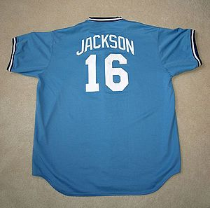Bo Jackson - A replica of Jackson's 1989 Kansas City Royals road uniform.