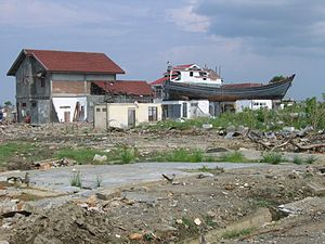 Effect of the 2004 Indian Ocean earthquake on Indonesia - A boat perched atop a house in Aceh after the tsunami