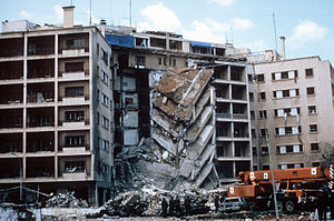 1983 United States embassy bombing -  A view of the damage to the U.S. Embassy after the bombing.