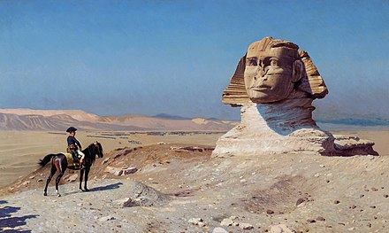 Bonaparte Before the Sphinx, (ca. 1868) by Jean-Leon Gerome, Hearst Castle Bonaparte ante la Esfinge, por Jean-Leon Gerome.jpg