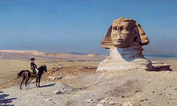 Bonaparte Before the Sphinx, Jean-Leon Gerome, c. 1868, Hearst Castle, California Bonaparte ante la Esfinge, por Jean-Leon Gerome.jpg