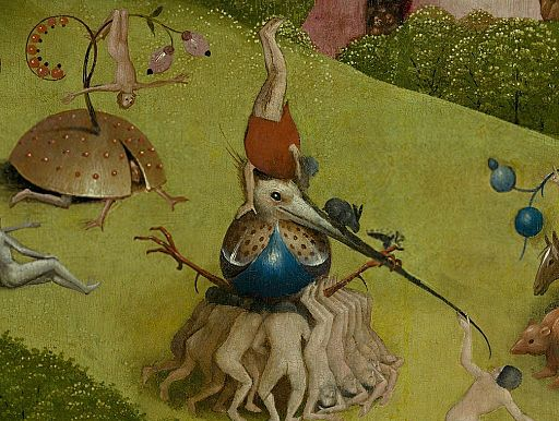 Bosch, Hieronymus - The Garden of Earthly Delights, central panel - Detail Men upside down (upper left)