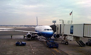 United Airlines Flight 175 - Gate C19 at Boston's Logan International Airport was the boarding gate of United Flight 175 on September 11, 2001. The American flag was added to memorialize the site.