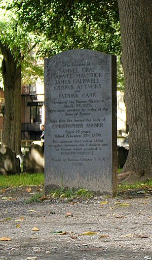 Boston Massacre - Boston Massacre grave marker in the Granary Burying Ground