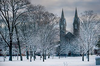 Bowdoin College - Bowdoin Chapel during the winter semester