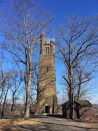 Washington Crossing Historic Park - Bowman's Hill Tower high above the Delaware River.