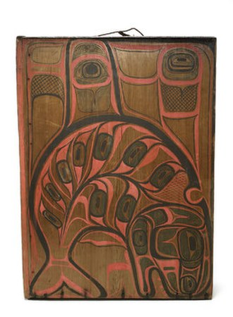 Tlingit -  Kóok gaaw, box drum, late 19th century. Image is of a sea wolf (orca).