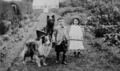 Boy and girl with two dogs and a wagon.png