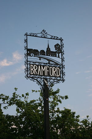 Bramford - Bramford village sign depicting the River Gipping and St' Mary's Church