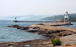 Lake Superior harbor in downtown Grand Marais