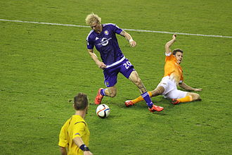 Orlando City SC - Brek Shea playing against the Houston Dynamo in a game during the 2015 season