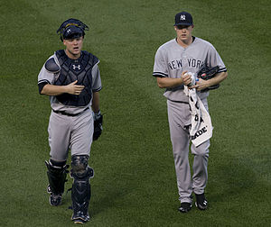 2014 New York Yankees season - Brian McCann and Chase Whitley before a game against the Orioles on July 13.