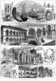 "An engraving showing at the top a sailing ship and paddle steamer in a harbour, with sheds and a church spire. On either side arched gateways, all above a scroll with the word ""Bristol"". Below a street scene showing pedestrians and a horse-drawn carriage outside a large ornate building with a colonnade and arched windows above. A grand staircase with two figures ascending and other figures on a balcony. A caption reading ""Exterior, Colston Hall"" and Staircase, Colston Hall"". Below, two street scenes and a view of a large stone building with flying buttresses and a square tower, with the caption ""Bristol cathedral"". At the bottom views of a church interior, a cloister with a man mowing grass and archways with two men in conversation."