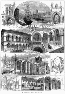 An 1873 engraving showing sights in and around Bristol
