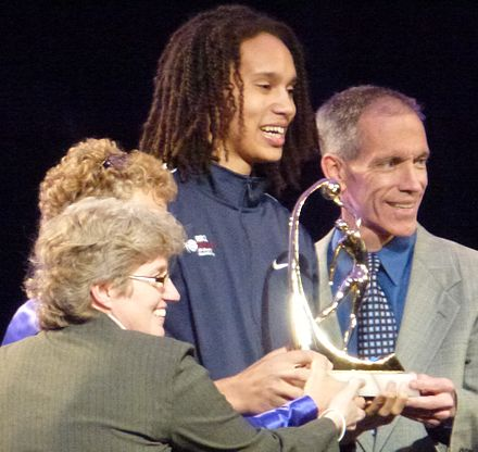 Brittney Griner accepting an award Brittney Griner accepting Wade Trophy 2.jpg