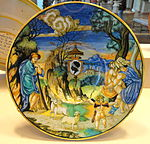 Broad-rimmed bowl with Neptune raping Theophane, and arms of the Pucci with an ombrellino, Francesco Xanto Avelli, 1532 - National Gallery of Art, Washington - DSC08631.JPG