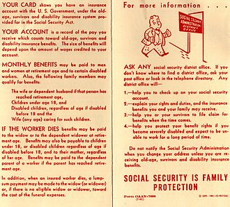 History of Social Security in the United States - Brochure from 1961 with basic advice about Social Security cards (pages 1 and 4)