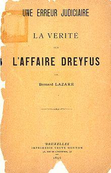 Primer folleto de Bernard Lazare,Un error judicial, publicado en 1896, en Bruselas.