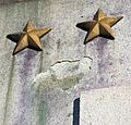 Bronze stars and pedestal damage - Sacrifice - Arts of War - Arlington Memorial Bridge - 2013-09-30.jpg