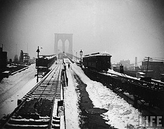 Great Blizzard of 1888 - Brooklyn Bridge during the blizzard