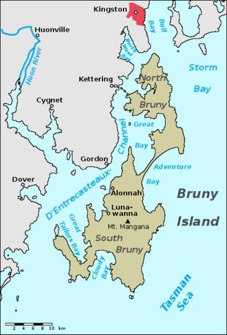 Bruny Island - Image: Bruny island map