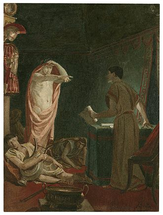Julius Caesar (play) - A late 19th-century painting of Act IV, Scene iii: Brutus sees Caesar's ghost.