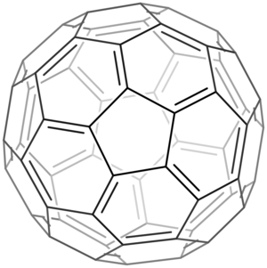 A skeletal chemical structure of buckminsterfullerene