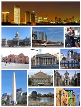 From top, left to right: panoramic view of the central business district, the Palace of the Argentine National Congress, Puente de la Mujer in Puerto Madero, tango dancers in San Telmo, Casa Rosada, the Metropolitan Cathedral, the Cabildo, the Obelisco, the Teatro Colón, La Recoleta Cemetery, the Planetario within the Palermo Woods, and Caminito in La Boca.