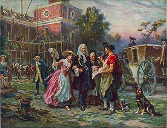 Andrew Hamilton (lawyer) - Building the Cradle of Liberty, by Jean Leon Gerome Ferris. Andrew Hamilton (center), with two women on his arms, discusses construction plans with a foreman during the construction of Independence Hall (shown in the background).