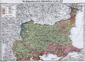 Kingdom of Bulgaria - The areas where the Ethnic Bulgarians were the majority of the population (in light green) in 1912