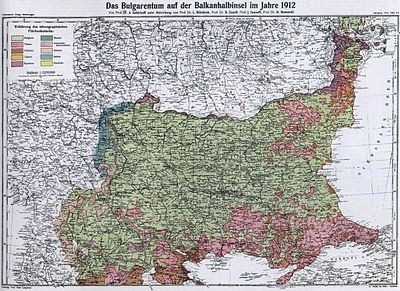 Ethnic composition map of the Balkans (1912) Bulgarians in 1912.jpg