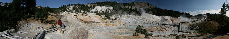 Bumpass Hell contains boiling springs, mudpots, and fumeroles