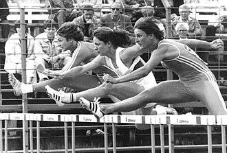 100 metres hurdles - Cornelia Oschkenat (nearest camera), Heike Theele and Kerstin Knabe (1986)