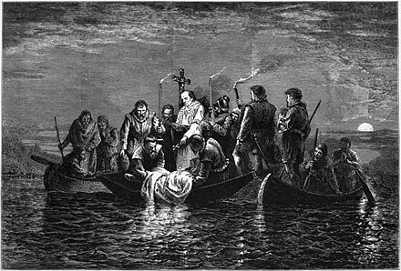Artist depiction of the burial of de Soto, 1876 Burial of de Soto - engraving.jpg