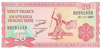 Burundian franc - Image: Burundi 20 Franc Obverse