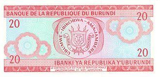 Burundian franc - Image: Burundi 20 Franc Reverse