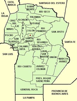 Provincia de Córdoba, división política y su capital.