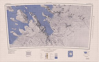 Map sheet Boyd Glacier from 1969, Fleming Peaks there as part of the Sarnoff Mountains in the western part of the northeastern map district