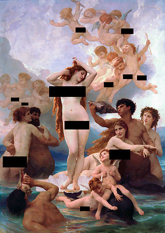Censorship - A hypothetical censored version of The Birth of Venus, by William-Adolphe Bouguereau