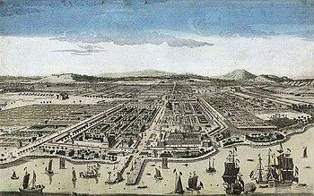 Vista aérea de la ciudad y su puerto.