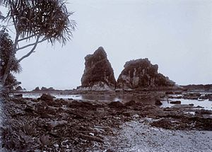 Tanjung Layar - Tanjung Layar in the 1920s, and the rock with a shape like a sail