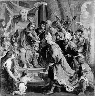 Otanes (son of Sisamnes) - Cambyses II appointing Otanes as judge in place of his flayed father Sisamnes, after a painting by Peter Paul Rubens. The skin of his father appears above the seated Otanes.