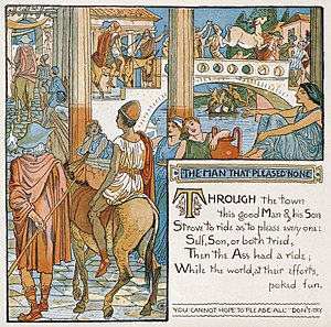 The miller, his son and the donkey - Walter Crane's composite illustration of all the events in the tale for the limerick retelling of the fables, Baby's Own Aesop