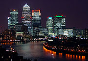 Canary Wharf at night, from Shadwell cropped