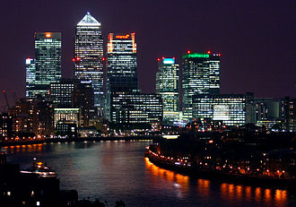 Architecture of London - Canary Wharf at night.