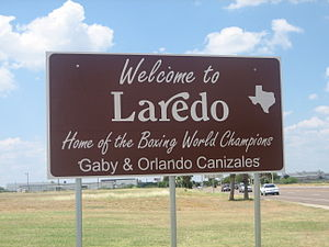 Gaby Canizales - Orlando and Gaby Canizales are honored on welcome sign in their hometown of Laredo, Texas