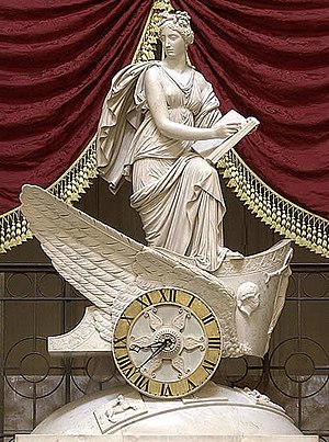 National Statuary Hall Collection - Presiding over the Hall, Carlo Franzoni's 1819 sculptural chariot clock, the Car of History depicting Clio, the Greek muse of history.