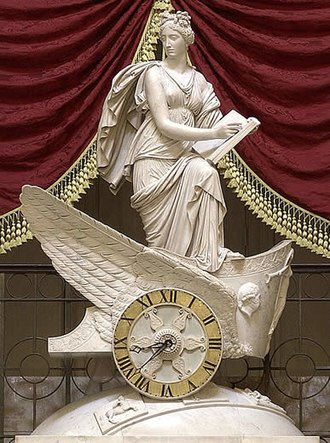 Marble - Carlo Franzoni's sculptural marble chariot clock, the Car of History, depicting Clio, the Greek muse of history.